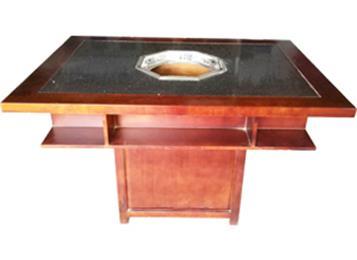 实木边框大理石火锅桌