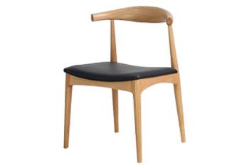 实木牛角椅火锅店PU皮坐垫靠背餐椅