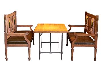 钱柜娱乐网站_水管铁脚餐桌主题餐吧实木家具餐桌椅