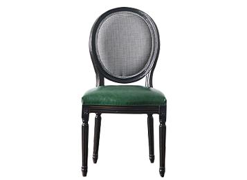 北欧彩色布皮质复古实木餐椅