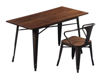 榆木实木桌面欧式铁皮餐桌 高脚铁质吧桌