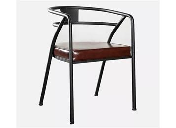 美式铁艺皮革座垫咖啡厅椅子