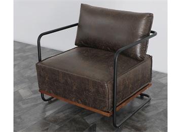 咖啡馆欧式工业风皮革软包单人沙发椅