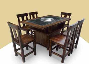 实木大理石火锅桌  实木火锅餐桌椅