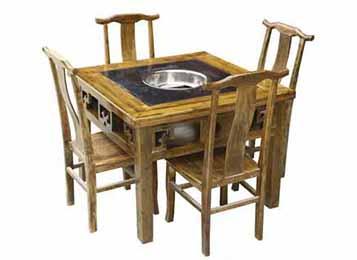 实木大理石火锅桌  经典火锅桌椅