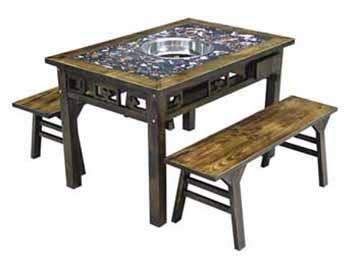 仿古雕花实木大理石火锅桌椅组合
