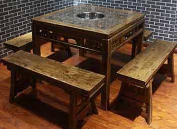大理石实木复古四方桌长条凳