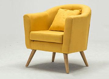 咖啡厅软包单人沙发 实木软包沙发