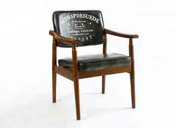 复古软包咖啡厅简约布艺休闲扶手椅
