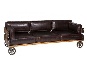 美式工业风古典皮革实木带轮子卡座沙发
