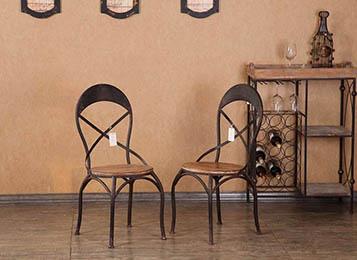 美式loft复古铁艺餐椅简约餐厅椅子靠背座椅