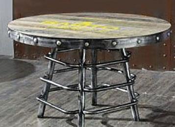 美式工业风LOFT餐桌水管脚架圆桌
