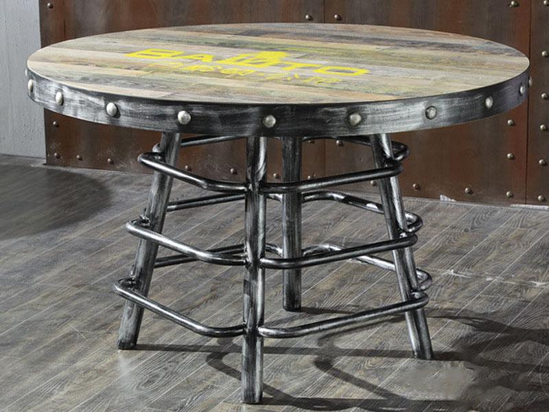 钱柜娱乐网站,钱柜娱乐官方网站_美式工业风LOFT餐桌水管脚架圆桌