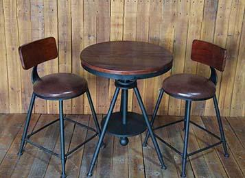 美式复古铁艺咖啡厅实木桌椅套件