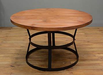 loft美式做旧大圆桌餐桌 工业复古家具铁艺实木桌