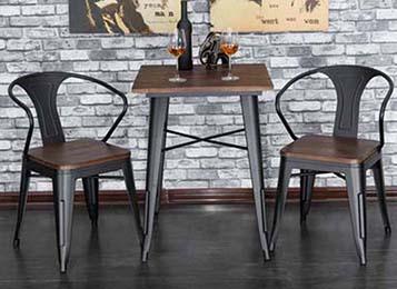 美式复古铁艺桌脚实木桌面餐桌