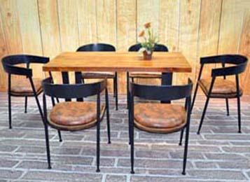 LOFT美式复古实木铁艺餐桌椅组合