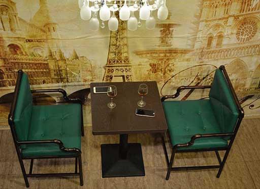西餐厅铁艺休闲双人卡座