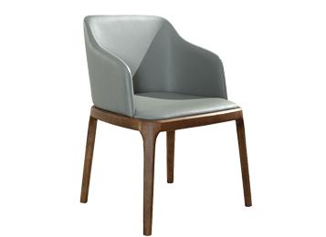 现代简约实木休闲椅 软包扶手椅