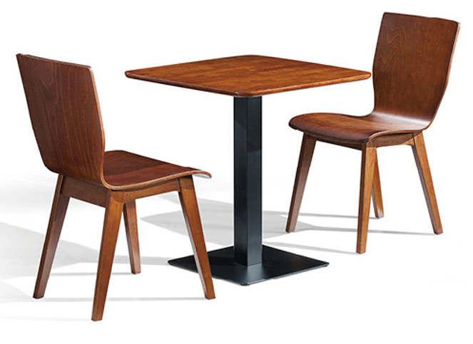正方形现代简约橡胶木钢脚柱式小桌子