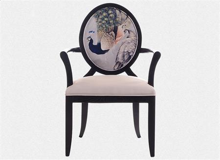 新中式布艺餐椅现代中式软包扶手椅