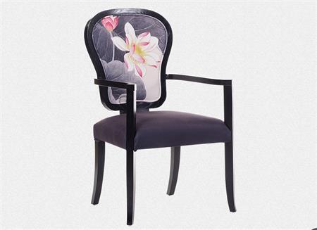 新中式实木布艺餐椅 复