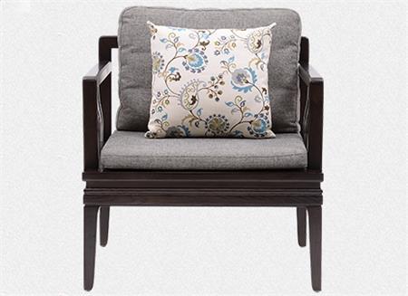 新中式水曲柳 实木沙发古典禅意布艺茶楼椅