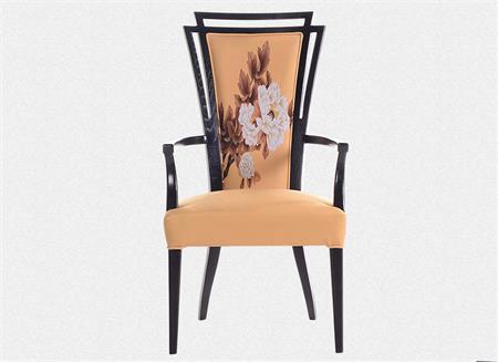 新中式现代简约实木布艺印花餐椅