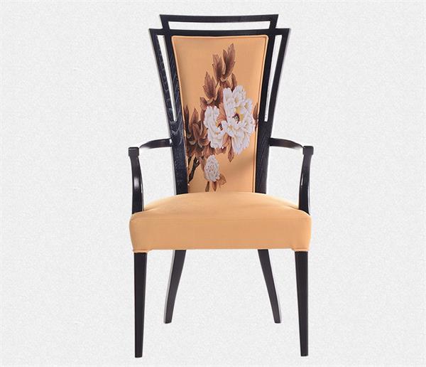 钱柜娱乐官方网站【首页】_新中式现代简约实木布艺印花餐椅