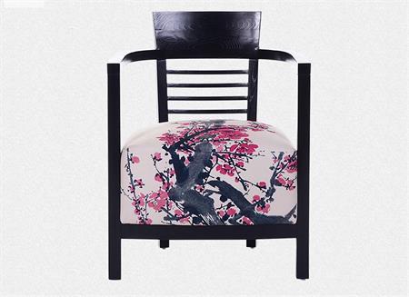新中式实木单人沙发简约现代休闲椅