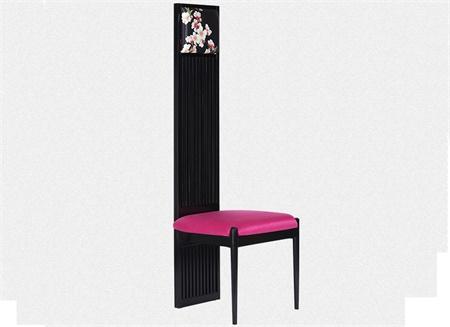 新中式高背椅 简约实木印花布艺餐椅