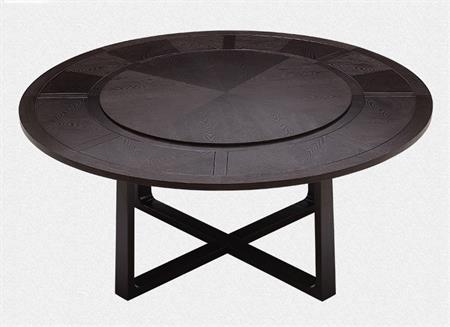 新中式实木餐桌转盘圆桌