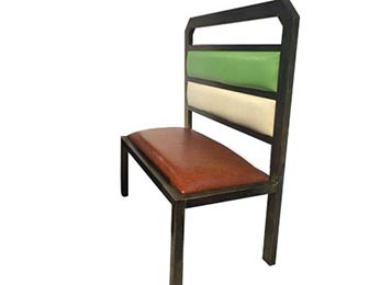 实木做旧软包卡座沙发